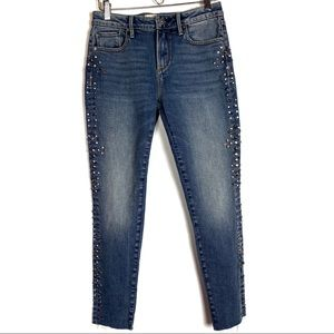 Driftwood Jackie Skinny Studded Raw Hem Jeans
